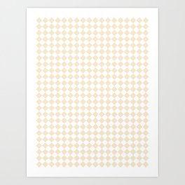 Small Diamonds - White and Champagne Orange Art Print