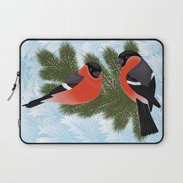 Bullfinch birds on fir tree branches Laptop Sleeve