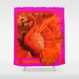 ART DECO  Saffron Flamingo Orange  Fuchsia Fantasy Painting Shower Curtain