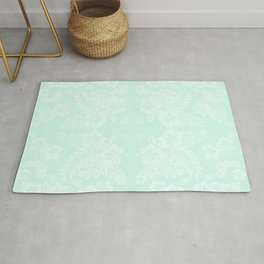Celadon Mint Green Pastels Tropical Hibiscus Flowers Pattern Rug