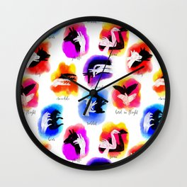 Watercolor Shadow Puppets Wall Clock