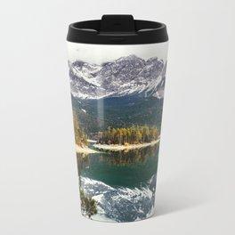 Green Blue Lake, Trees and Mountains Metal Travel Mug