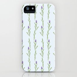 Modern artistic pastel blue lavender watercolor floral pattern iPhone Case