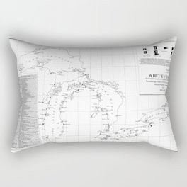 Vintage Map of Shipwrecks of the Great Lakes Rectangular Pillow