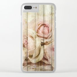 Shabby Chic Country Floral Rose Wood Clear iPhone Case