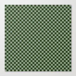 Dark Forest Green Checkerboard Pattern Canvas Print