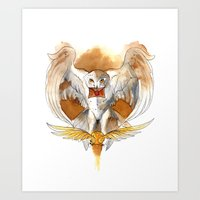 hedwig Art Prints featuring Potter Hedwig Owl by Rubis Firenos