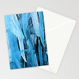 Midnight Blue & Aqua Abstract Broad Brush Stroke Painting Stationery Cards