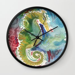 Watercolor sea horse painting Wall Clock