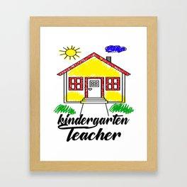 Kindergarten Teacher Drawing of a House Framed Art Print