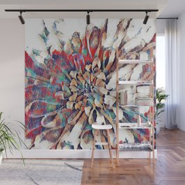 Japanese Inspired Lily Design Sketch Wall Mural