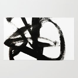 Brushstroke 4 - a simple black and white ink design Rug