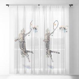 Cat Playing Tennis Sheer Curtain