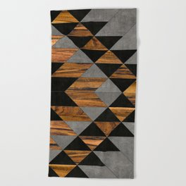 Urban Tribal Pattern 10 - Aztec - Concrete and Wood Beach Towel