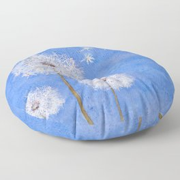 flying dandelion watercolor painting Floor Pillow