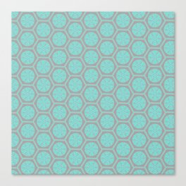 Hexagonal Dreams - Grey & Turquoise Canvas Print