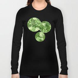 Green Tropical Leaves Pattern Long Sleeve T-shirt