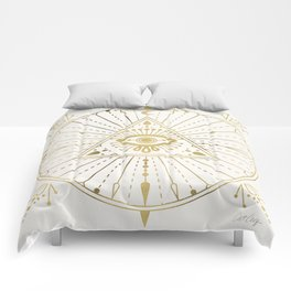 All-Seeing Eye Mandala – Gold Palette Comforters