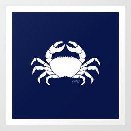 Crab Navy Background Art Print