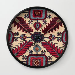Red Feathers Lake Urmia 19th Century Authentic Colorful Blue Green Vintage Patterns Wall Clock