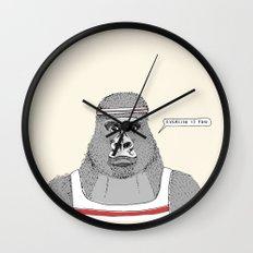 Gorillas love exercise Wall Clock