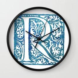 Letter R Elegant Antique Floral Letterpress Monogram Wall Clock