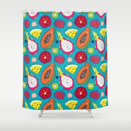 Seedy Fruits in Teal Blue Shower Curtain