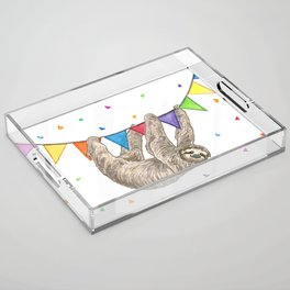 Sloth with Bunting #1 Acrylic Tray