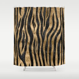Tiger Faux Fur Texture black abalone and gold Shower Curtain