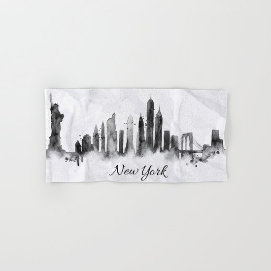 White New York Skyline Hand & Bath Towel