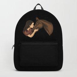 Girl Kissing A Horse Backpack