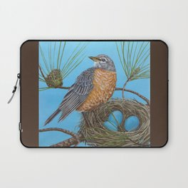 Robin with nest in Georgia pine tree Laptop Sleeve