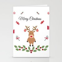 merry christmas Stationery Cards featuring Merry Christmas by haroulita