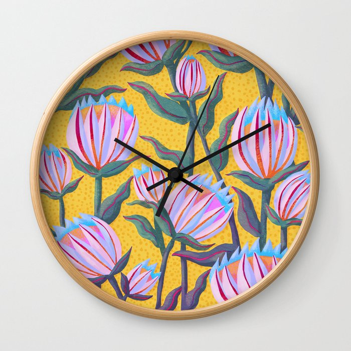 Bold Protea Flower Pattern - Pink Blue Green Purple Yellow Wall Clock