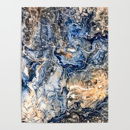 Breaking Waves Abstract Painting Poster