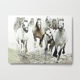 horses running to be free Metal Print