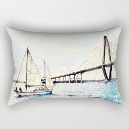Charleston South Carolina - Sailboat - Arthur Ravenel Jr Bridge Rectangular Pillow