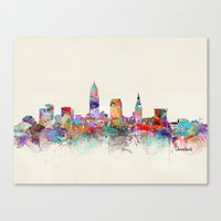 cleveland Canvas Prints featuring Cleveland Ohio by bri.buckley