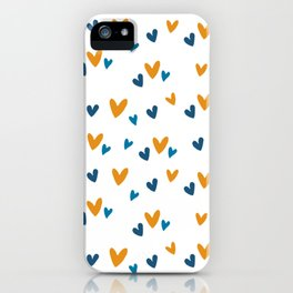 Blue Orange Heart Print iPhone Case