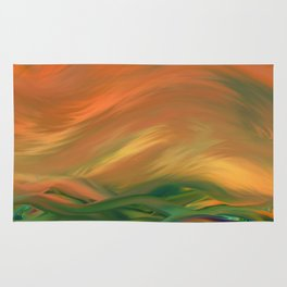 Sunset over the sea of worries Rug