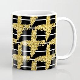 Gold glitter plaid on white stripes abd black background Coffee Mug