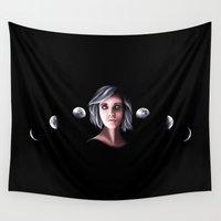 moon phases Wall Tapestries featuring Phases by Sam Luotonen