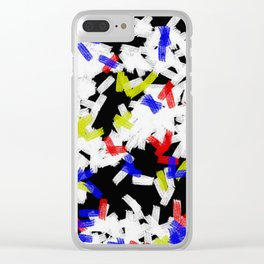 Primary Strokes - Abstract, primary colour & black and white raw paint brush strokes Clear iPhone Case