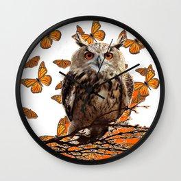 ORANGE BUTTERFLIES OWL IN TREE WHITE ART DESIGN ART Wall Clock