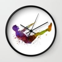 workout Wall Clocks featuring Man exercising workout fitness  by Paulrommer