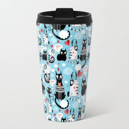 Graphic seamless pattern with hearts in love cats Travel Mug
