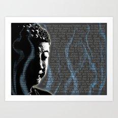Typographic Fine Art Print Illustration Poster Stencil Graffiti: Buddha quotes and inscens smoke  Art Print