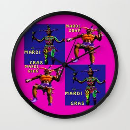 Mardi Gras Jester Twins Wall Clock