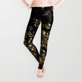 Elegant Abstract Geometry Explosion -Gold and Silver,Black- Leggings