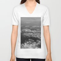 cloud V-neck T-shirts featuring cloud by habish
